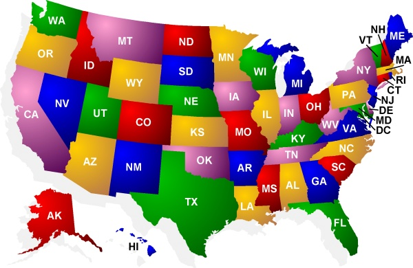 Map Of Usa States Initials On Map Images Lets Explore All World Maps